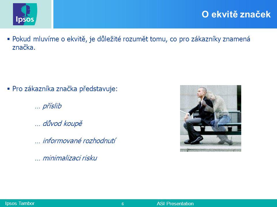Ipsos Tambor ASI Presentation 6 O ekvitě značek  Pokud mluvíme o ekvitě, je důležité rozumět tomu, co pro zákazníky znamená značka.