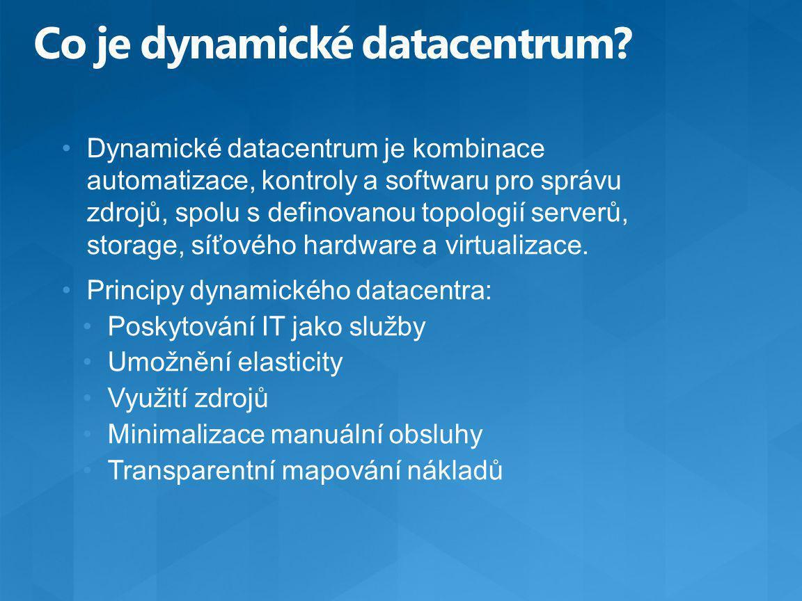 Dynamické datacentrum je kombinace automatizace, kontroly a softwaru pro správu zdrojů, spolu s definovanou topologií serverů, storage, síťového hardw