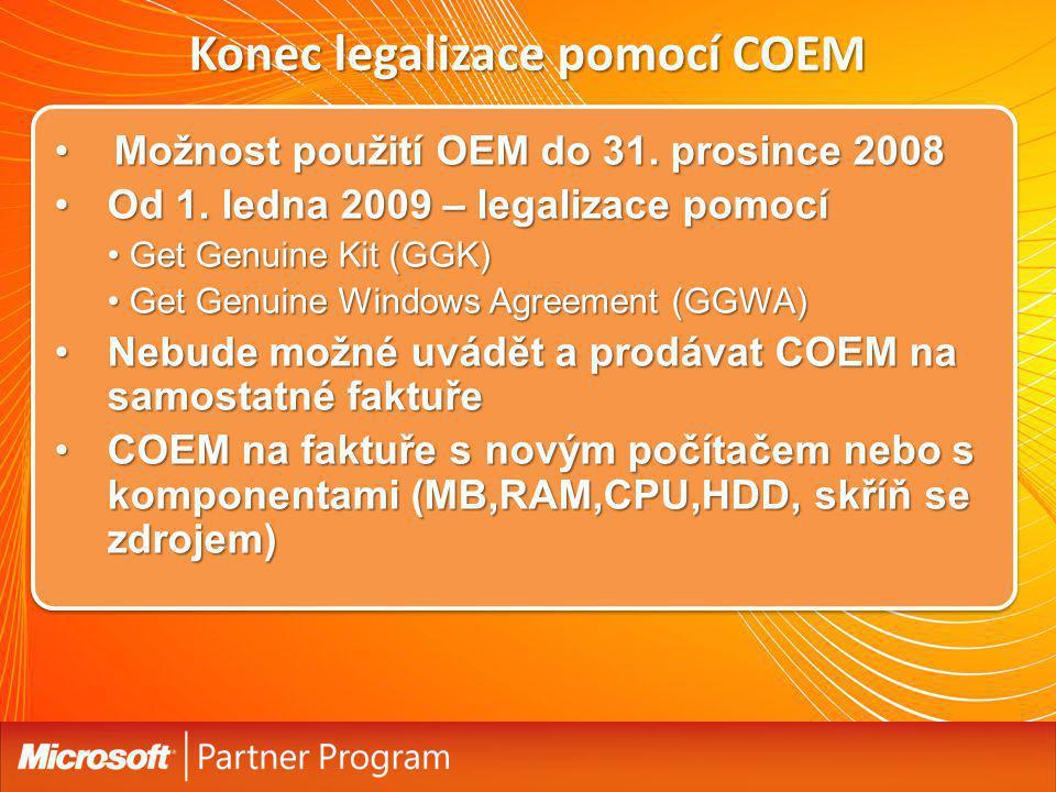 Konec legalizace pomocí COEM Možnost použití OEM do 31. prosince 2008Možnost použití OEM do 31. prosince 2008 Od 1. ledna 2009 – legalizace pomocíOd 1