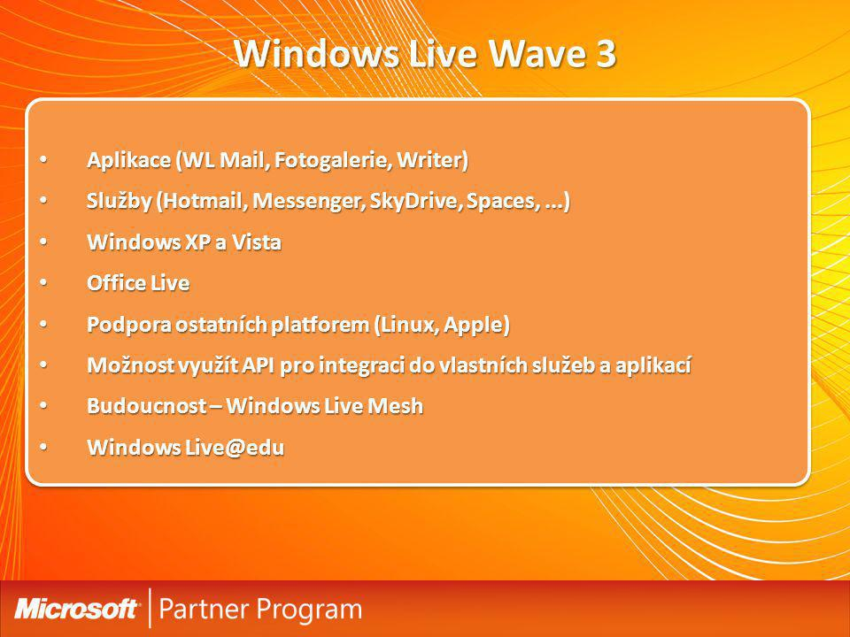 Windows Live Wave 3 Aplikace (WL Mail, Fotogalerie, Writer) Aplikace (WL Mail, Fotogalerie, Writer) Služby (Hotmail, Messenger, SkyDrive, Spaces,...)