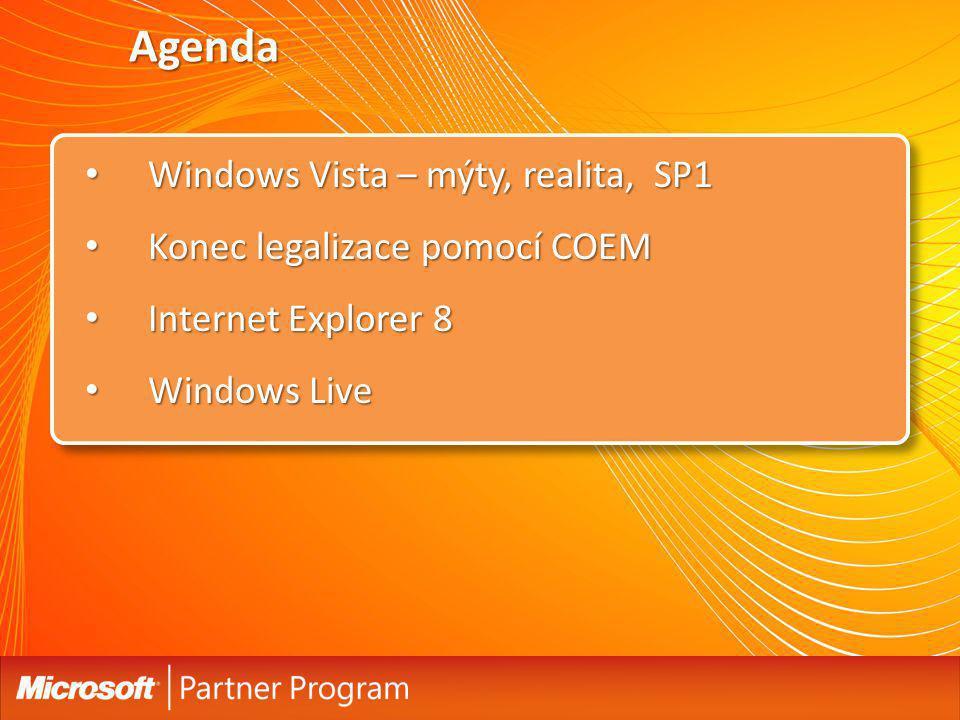 Agenda Windows Vista – mýty, realita, SP1 Windows Vista – mýty, realita, SP1 Konec legalizace pomocí COEM Konec legalizace pomocí COEM Internet Explorer 8 Internet Explorer 8 Windows Live Windows Live