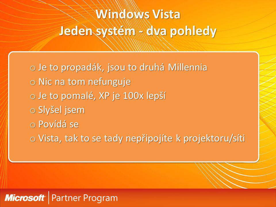 Windows Vista Jeden systém - dva pohledy o Je to propadák, jsou to druhá Millennia o Nic na tom nefunguje o Je to pomalé, XP je 100x lepší o Slyšel js
