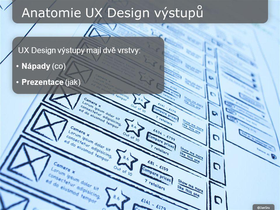 Anatomie UX Design výstupů UX Design výstupy mají dvě vrstvy: Nápady (co) Prezentace (jak) @JanSru