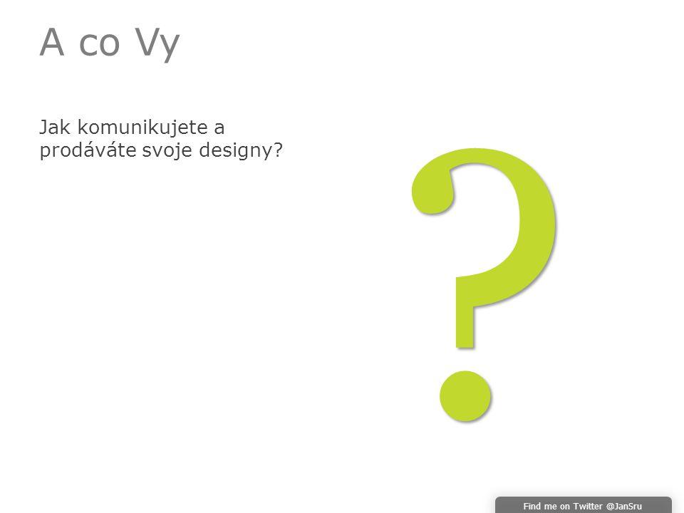A co Vy Jak komunikujete a prodáváte svoje designy Find me on Twitter @JanSru