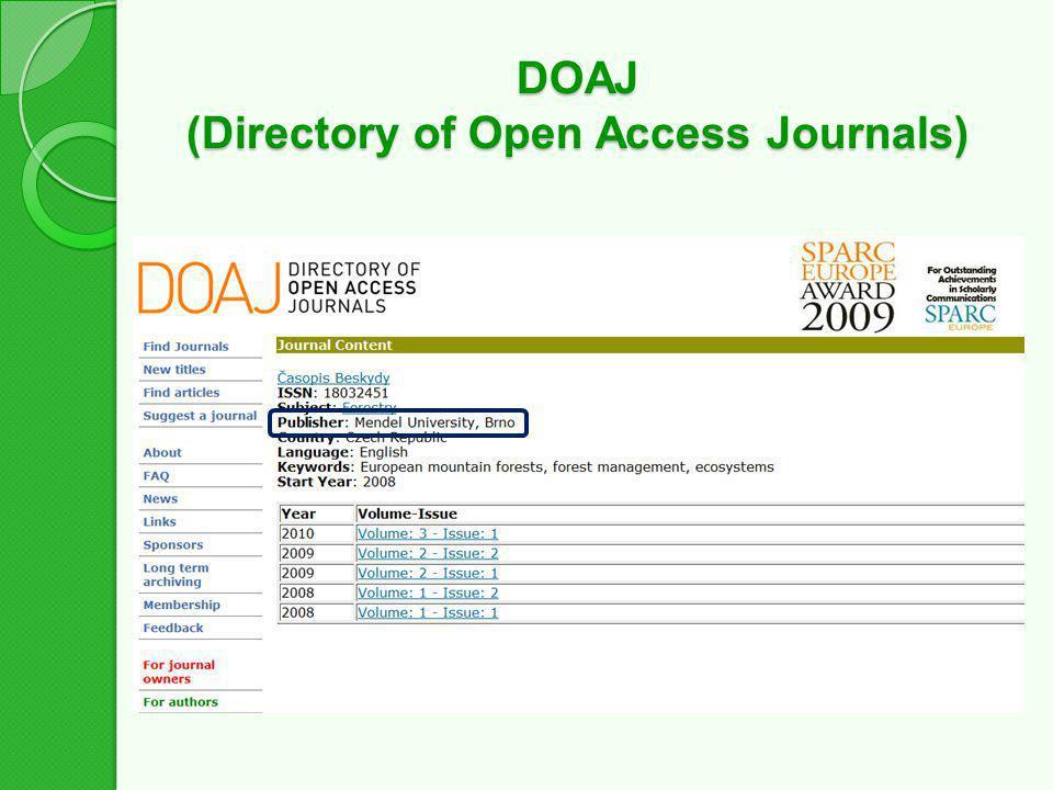DOAJ (Directory of Open Access Journals)