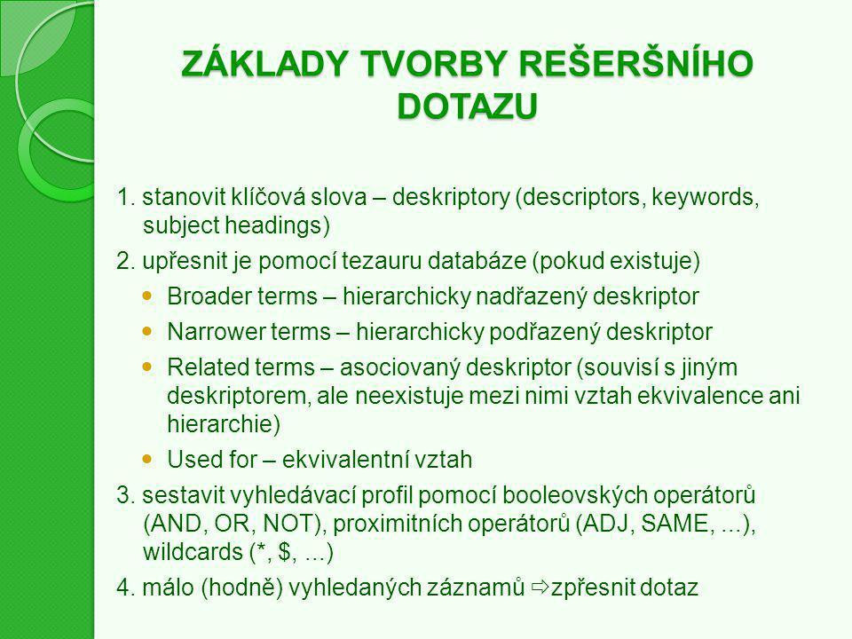ZÁKLADY TVORBY REŠERŠNÍHO DOTAZU 1.