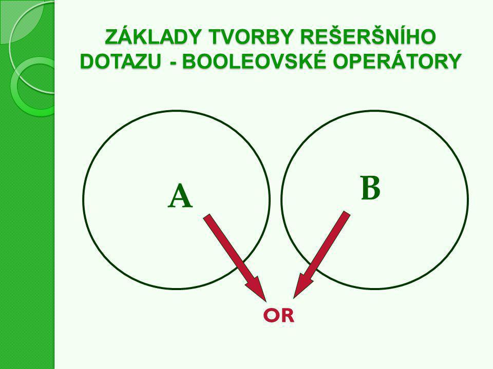ZÁKLADY TVORBY REŠERŠNÍHO DOTAZU - BOOLEOVSKÉ OPERÁTORY OR A B