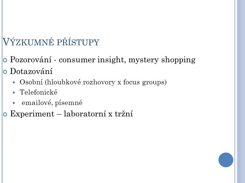 V ÝZKUMNÉ PŘÍSTUPY Pozorování - consumer insight, mystery shopping Dotazování Osobní (hloubkové rozhovory x focus groups) Telefonické emailové, písemné Experiment – laboratorní x tržní