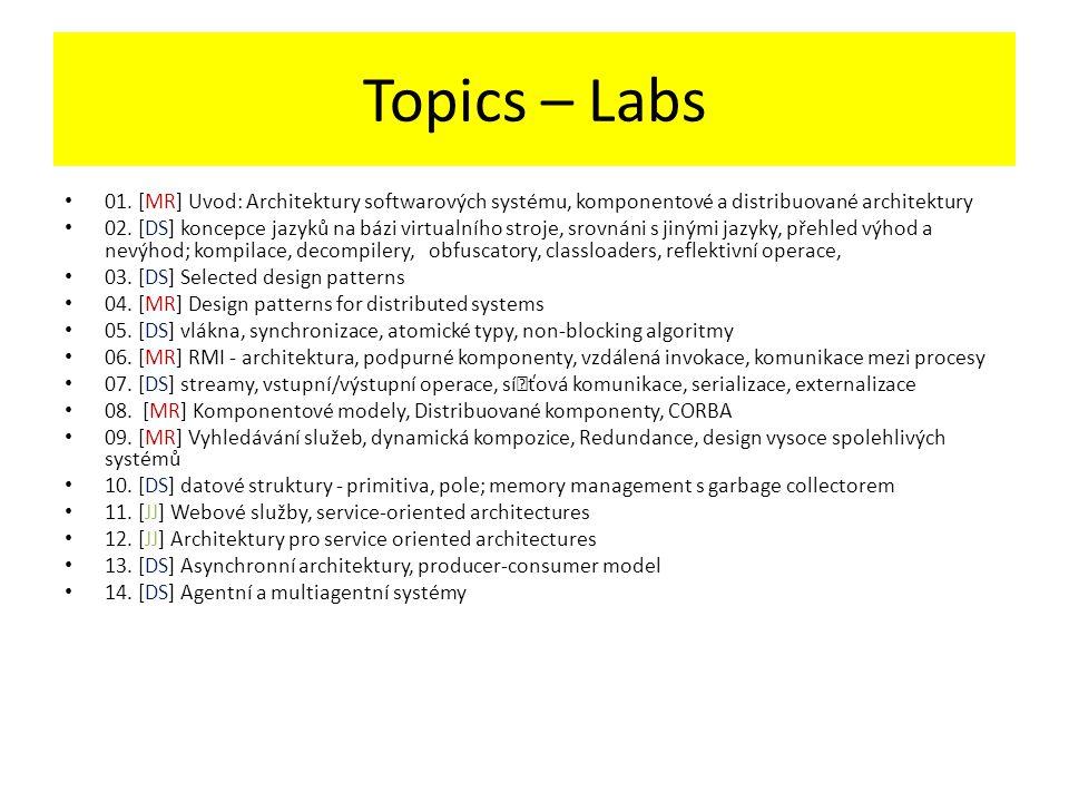 Topics – Labs 01. [MR] Uvod: Architektury softwarových systému, komponentové a distribuované architektury 02. [DS] koncepce jazyků na bázi virtualního