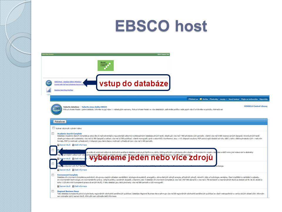 EBSCO host vstup do databáze vybereme jeden nebo více zdrojů