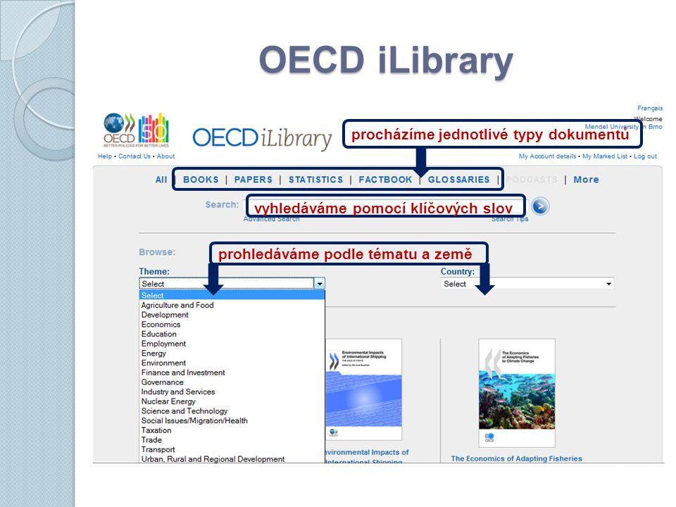 OECD iLibrary prohledáváme podle tématu a země vyhledáváme pomocí klíčových slov procházíme jednotlivé typy dokumentů