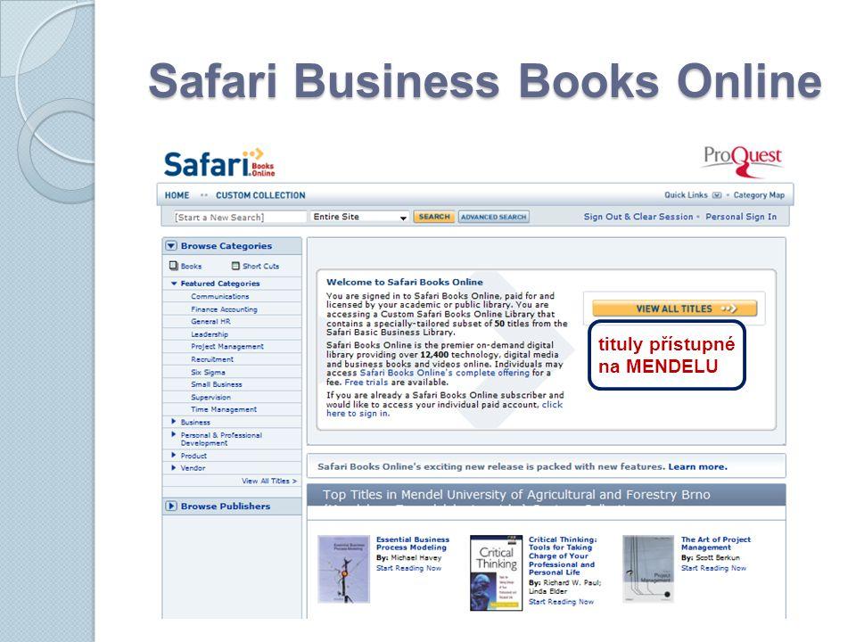 Safari Business Books Online tituly přístupné na MENDELU