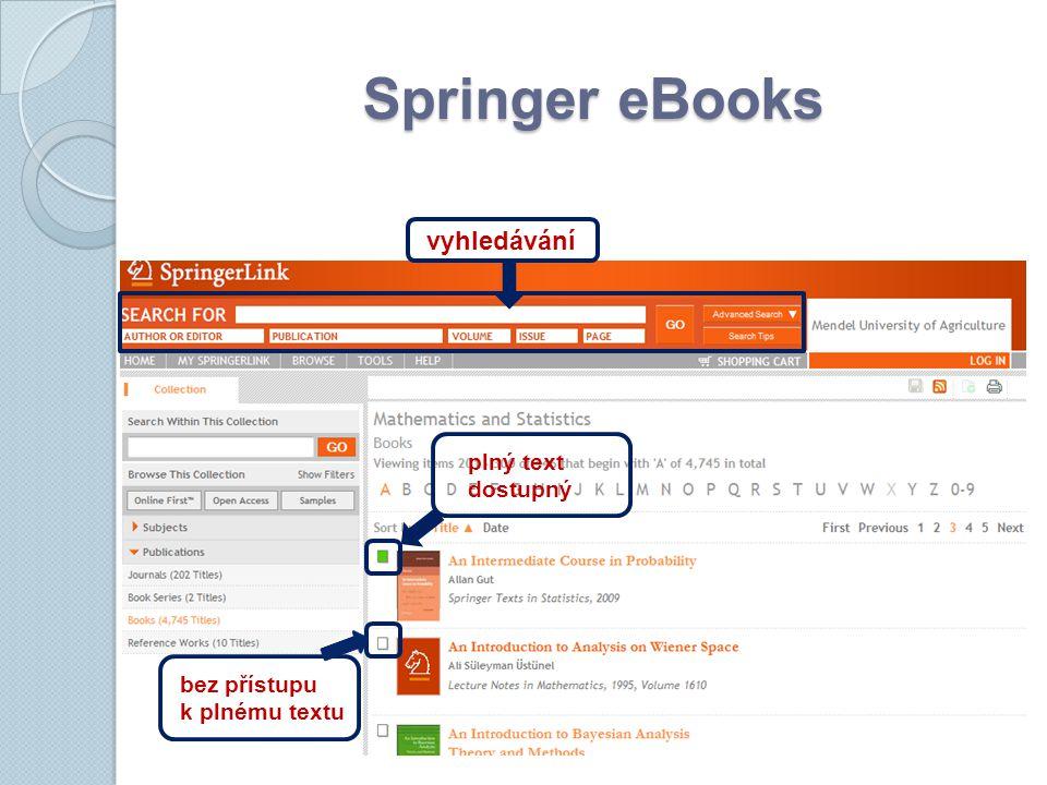 Springer eBooks vyhledávání bez přístupu k plnému textu plný text dostupný