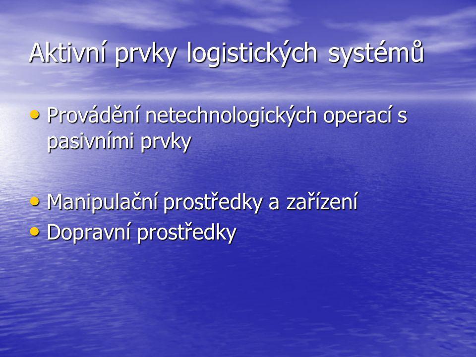 Aktivní prvky logistických systémů Provádění netechnologických operací s pasivními prvky Provádění netechnologických operací s pasivními prvky Manipulační prostředky a zařízení Manipulační prostředky a zařízení Dopravní prostředky Dopravní prostředky