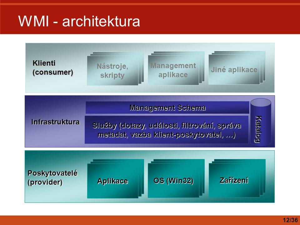 WMI - architektura Poskytovatelé (provider) Aplikace Zařízení OS (Win32) Klienti (consumer) Nástroje, skripty Jiné aplikace Management aplikace Služby