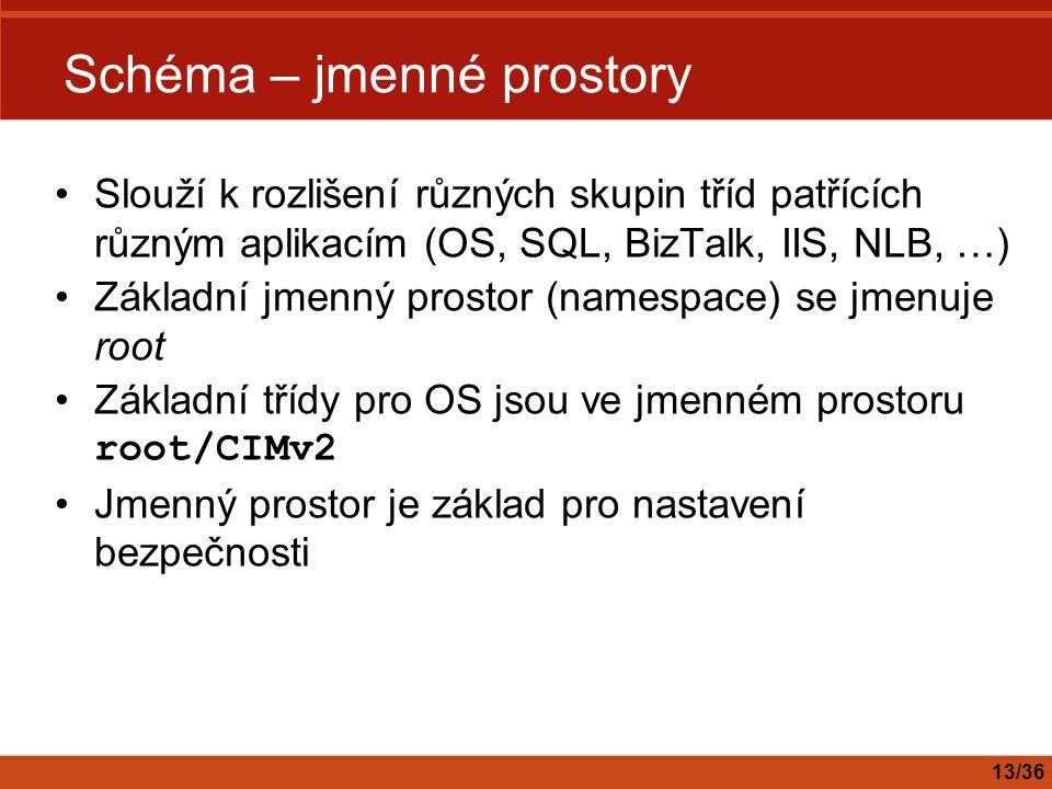 Schéma – jmenné prostory Slouží k rozlišení různých skupin tříd patřících různým aplikacím (OS, SQL, BizTalk, IIS, NLB, …) Základní jmenný prostor (na