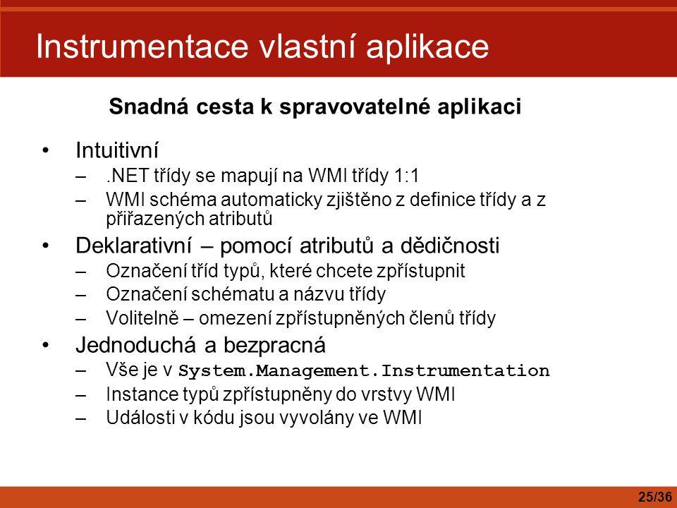 Instrumentace vlastní aplikace Intuitivní –.NET třídy se mapují na WMI třídy 1:1 –WMI schéma automaticky zjištěno z definice třídy a z přiřazených atr