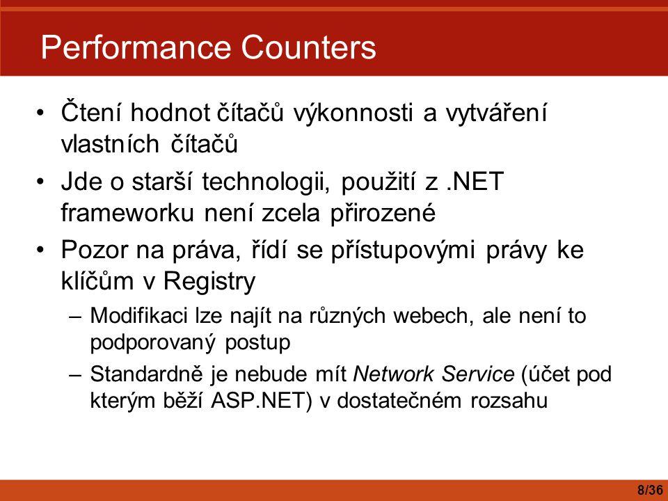 WMI v.NET Frameworku Funkce WMI jsou ve jmenném prostoru System.Management Známé prostředí a techniky –Třídy, kolekce, enumerátory, foreach, delegate, event, … Jazykově neutrální – C#, VB.NET, … Generování typových tříd pro WMI třídy: –MgmtClassGen.exe v.NET Framework SDK –WMI Server Explorer Extension pro VS.NET –Výhody IntelliSense®, kontrola při kompilaci … 19/36