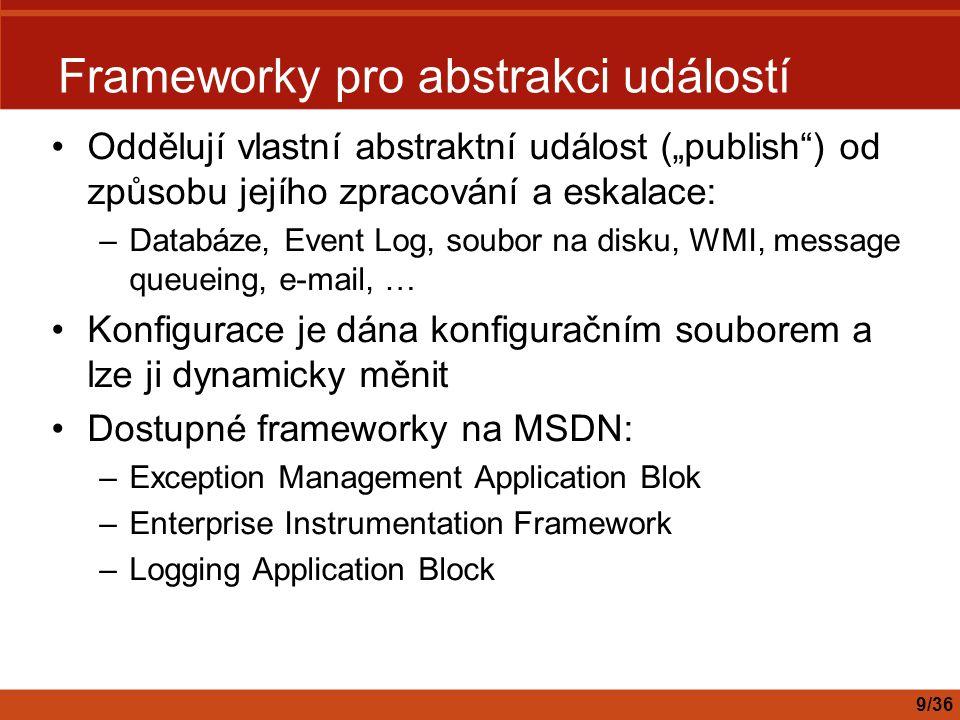 """Frameworky pro abstrakci událostí Oddělují vlastní abstraktní událost (""""publish"""") od způsobu jejího zpracování a eskalace: –Databáze, Event Log, soubo"""