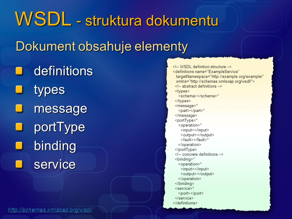 WSDL - struktura dokumentu Dokument obsahuje elementy definitionstypesmessageportTypebindingservice * * * * * * http://schemas.xmlsoap.org/wsdl/