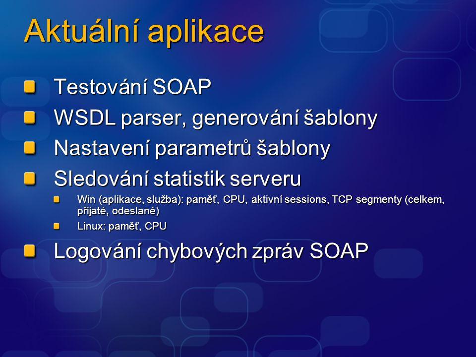 Aktuální aplikace Testování SOAP WSDL parser, generování šablony Nastavení parametrů šablony Sledování statistik serveru Win (aplikace, služba): paměť, CPU, aktivní sessions, TCP segmenty (celkem, přijaté, odeslané) Linux: paměť, CPU Logování chybových zpráv SOAP