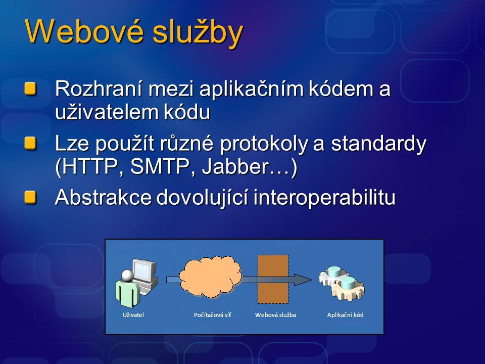Webové služby Rozhraní mezi aplikačním kódem a uživatelem kódu Lze použít různé protokoly a standardy (HTTP, SMTP, Jabber…) Abstrakce dovolující inter