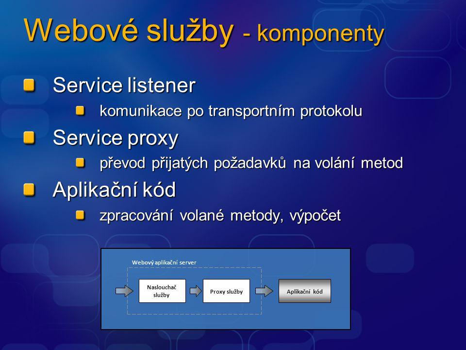 Webové služby - komponenty Service listener komunikace po transportním protokolu Service proxy převod přijatých požadavků na volání metod Aplikační kó