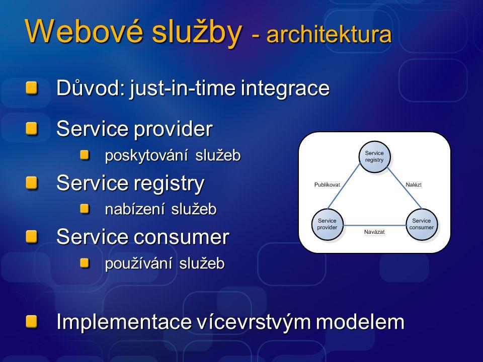 Webové služby - vícevrstvý model Discovery layer mechanismus k získávání popisu poskytovatelů služeb (UDDI, WS-Inspection) Description layer popis způsobů používání služeb (WSDL, RDF, DAML) Packaging layer formát zpráv (SOAP) Transport layer přenos dat (HTTP, SMTP) Network layer Shodná s TCP/IP Network Layer