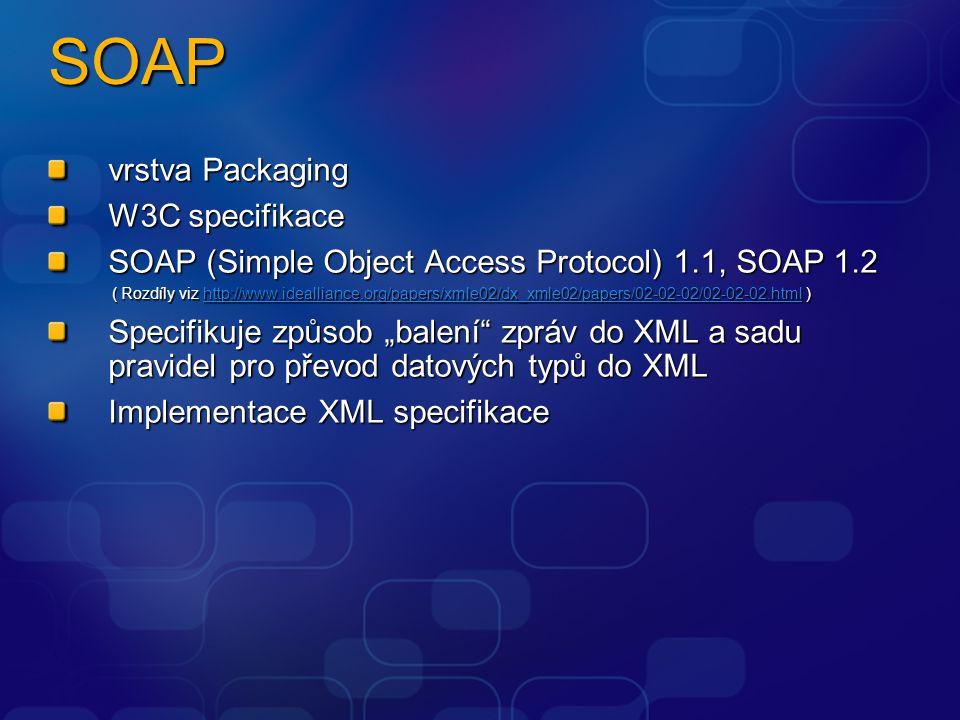 SOAP – zprávy, HTTP přenos SOAP zpráva obsahuje: Envelope element Header element mustUnderstand Body element Nespecifikován obsah SOAP Fault Verzování (1.1 vs 1.2) SOAP přes HTTP: Nejpoužívanější Obvykle projde přes firewall SOAPaction hlavička Chyba 500 Server Error HTTP server HTTP request  SOAP request HTTP client HTTP response  SOAP response