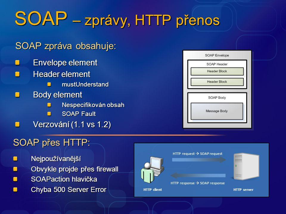 SOAP – zprávy, HTTP přenos SOAP zpráva obsahuje: Envelope element Header element mustUnderstand Body element Nespecifikován obsah SOAP Fault Verzování
