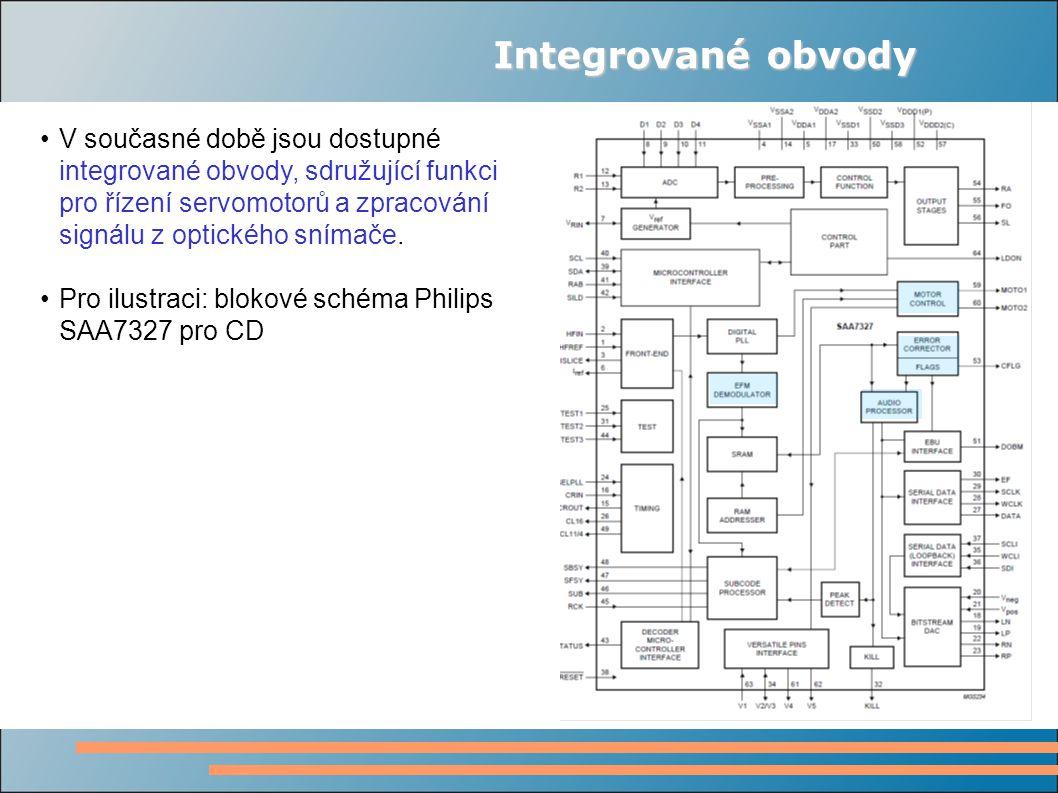 Integrované obvody V současné době jsou dostupné integrované obvody, sdružující funkci pro řízení servomotorů a zpracování signálu z optického snímače.