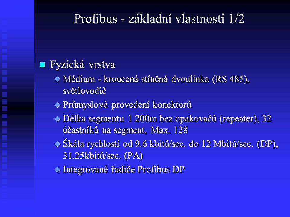 Profibus - základní vlastnosti 1/2 Fyzická vrstva Fyzická vrstva  Médium - kroucená stíněná dvoulinka (RS 485), světlovodič  Průmyslové provedení ko