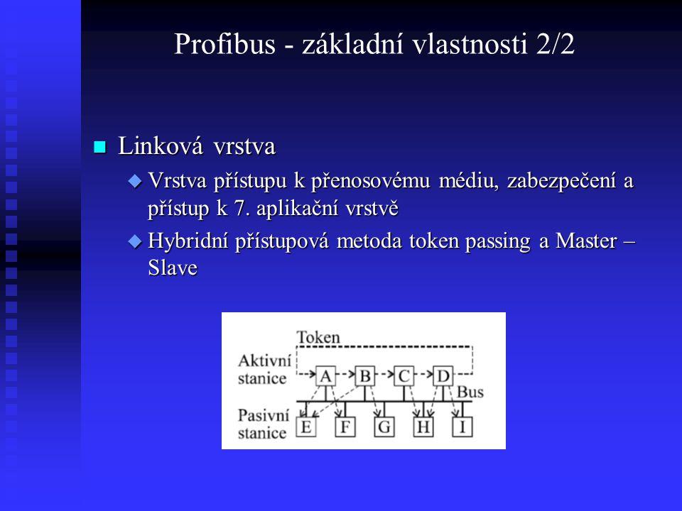 Profibus - základní vlastnosti 2/2 Linková vrstva Linková vrstva  Vrstva přístupu k přenosovému médiu, zabezpečení a přístup k 7. aplikační vrstvě 