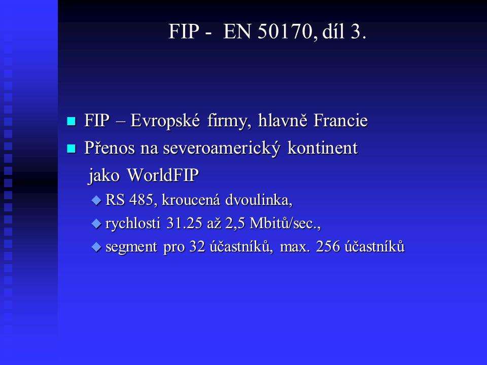 FIP - EN 50170, díl 3. FIP – Evropské firmy, hlavně Francie FIP – Evropské firmy, hlavně Francie Přenos na severoamerický kontinent Přenos na severoam