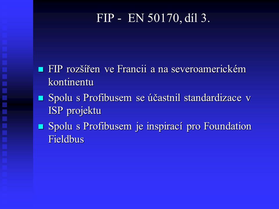 FIP - EN 50170, díl 3. FIP rozšířen ve Francii a na severoamerickém kontinentu FIP rozšířen ve Francii a na severoamerickém kontinentu Spolu s Profibu
