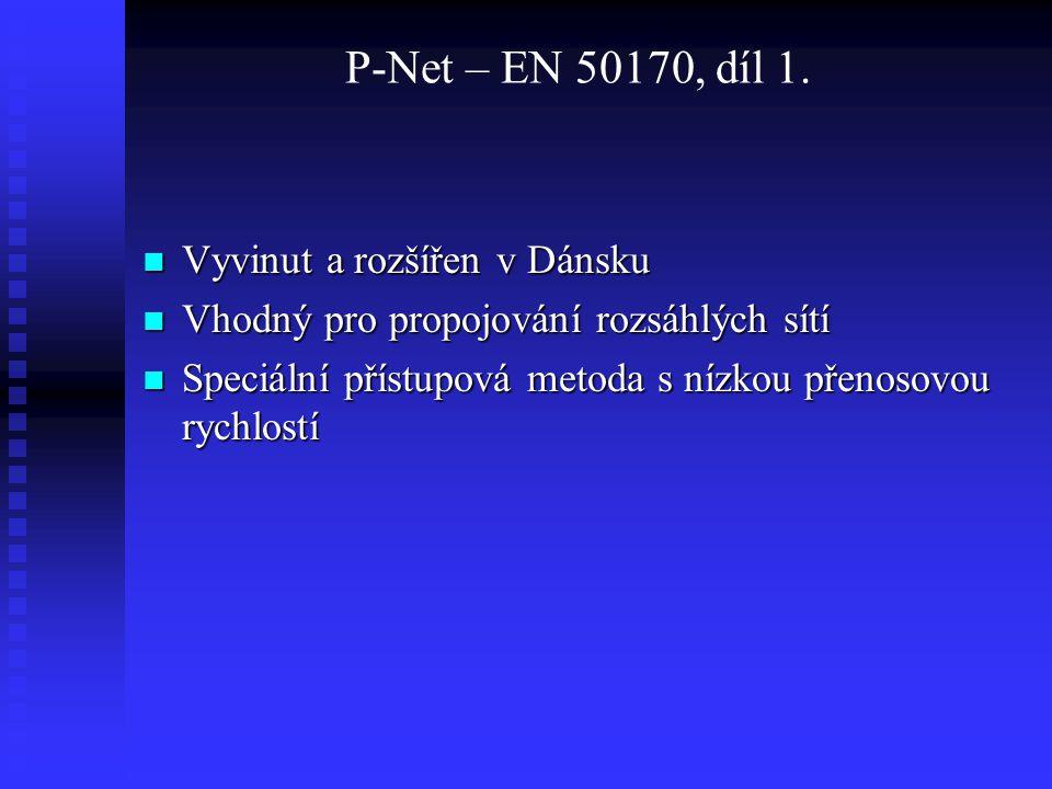 P-Net – EN 50170, díl 1. Vyvinut a rozšířen v Dánsku Vyvinut a rozšířen v Dánsku Vhodný pro propojování rozsáhlých sítí Vhodný pro propojování rozsáhl