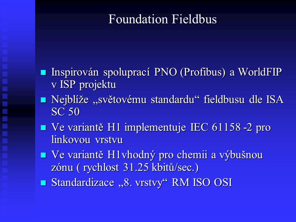 Foundation Fieldbus Inspirován spoluprací PNO (Profibus) a WorldFIP v ISP projektu Inspirován spoluprací PNO (Profibus) a WorldFIP v ISP projektu Nejb