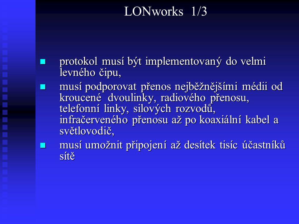 LONworks 1/3 protokol musí být implementovaný do velmi levného čipu, protokol musí být implementovaný do velmi levného čipu, musí podporovat přenos ne
