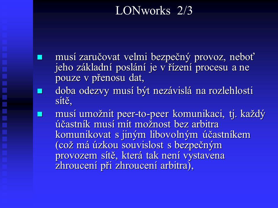 LONworks 2/3 musí zaručovat velmi bezpečný provoz, neboť jeho základní poslání je v řízení procesu a ne pouze v přenosu dat, musí zaručovat velmi bezp