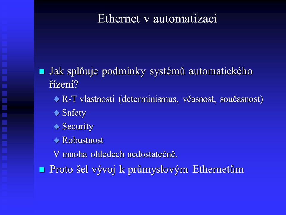 Ethernet v automatizaci Jak splňuje podmínky systémů automatického řízení? Jak splňuje podmínky systémů automatického řízení?  R-T vlastnosti (determ