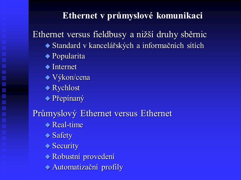 Ethernet v průmyslové komunikaci Ethernet versus fieldbusy a nižší druhy sběrnic  Standard v kancelářských a informačních sítích  Popularita  Inter