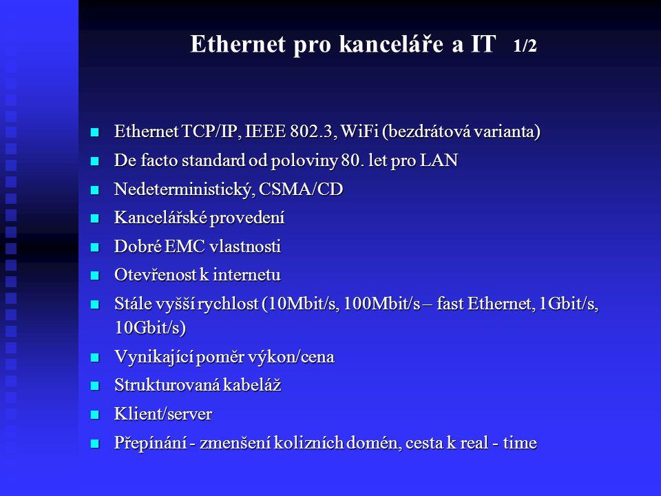 Ethernet pro kanceláře a IT 1/2 Ethernet TCP/IP, IEEE 802.3, WiFi (bezdrátová varianta) Ethernet TCP/IP, IEEE 802.3, WiFi (bezdrátová varianta) De fac