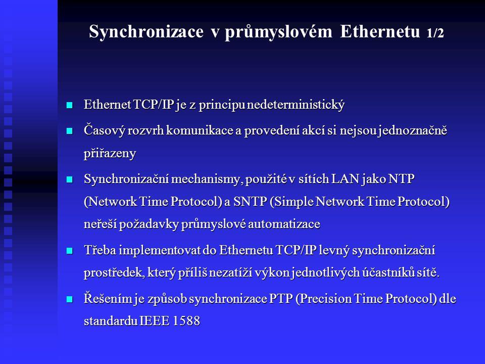 Ethernet TCP/IP je z principu nedeterministický Ethernet TCP/IP je z principu nedeterministický Časový rozvrh komunikace a provedení akcí si nejsou je