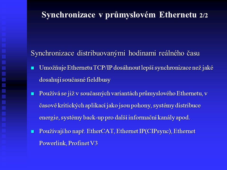 Synchronizace v průmyslovém Ethernetu 2/2 Synchronizace distribuovanými hodinami reálného času Umožňuje Ethernetu TCP/IP dosáhnout lepší synchronizace