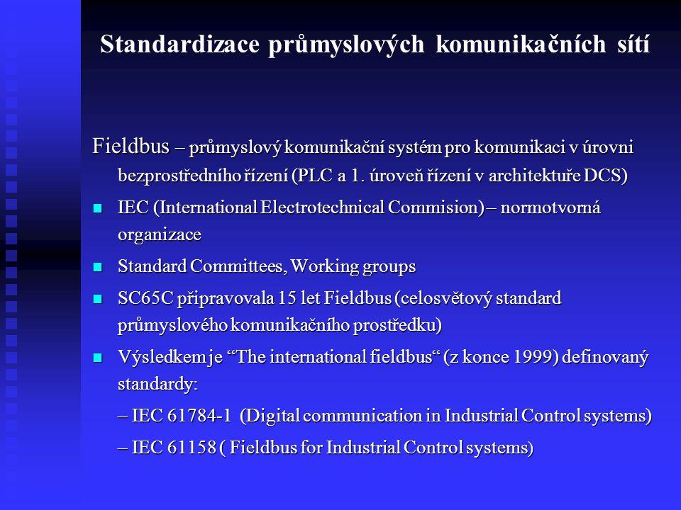 Standardizace průmyslových komunikačních sítí Fieldbus – průmyslový komunikační systém pro komunikaci v úrovni bezprostředního řízení (PLC a 1. úroveň