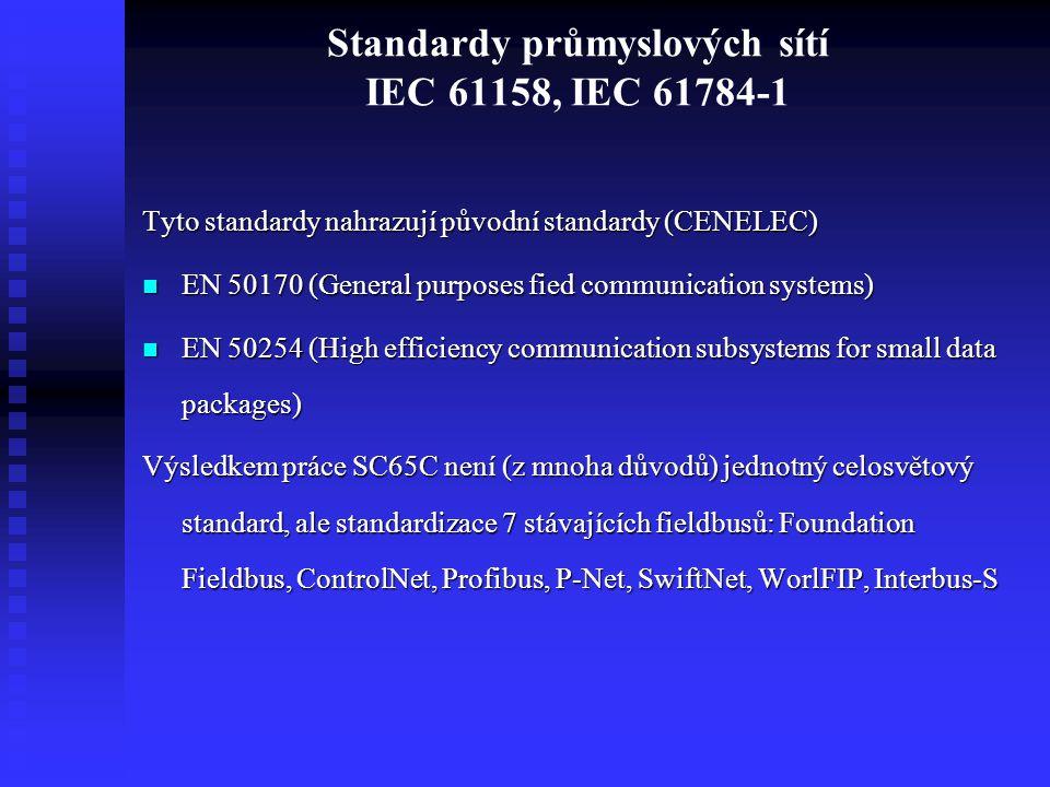 Standardy průmyslových sítí IEC 61158, IEC 61784-1 Tyto standardy nahrazují původní standardy (CENELEC) EN 50170 (General purposes fied communication