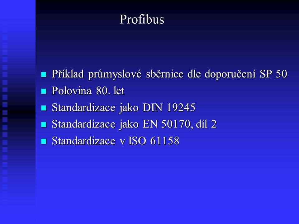 Profibus Struktura Struktura  Profibus FMS (propojení PLC, IPC, OS)  Profibus DP (decentralizované periferie)  Profibus PA (technologické procesy) Komunikační model Komunikační model Fyzické vlastnosti, přístupová metoda, topologie Fyzické vlastnosti, přístupová metoda, topologie Parametry (vzdálenost, rychlost Parametry (vzdálenost, rychlost Současnost a budoucnost Současnost a budoucnost