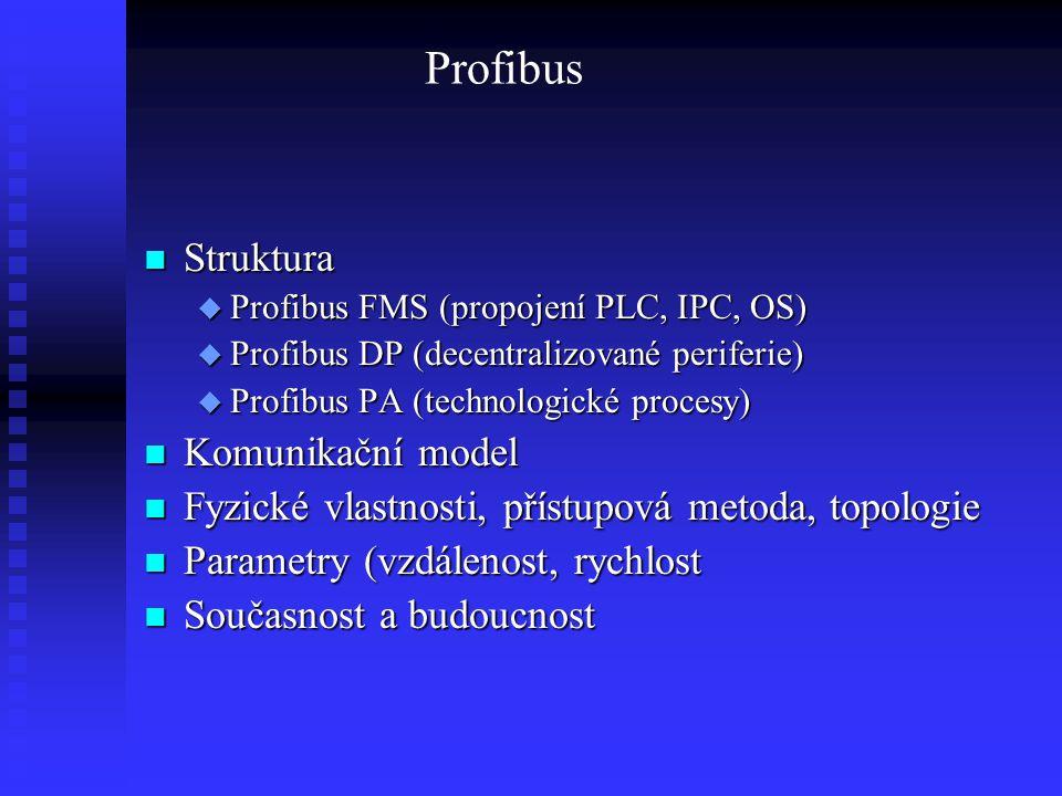 Profibus Struktura Struktura  Profibus FMS (propojení PLC, IPC, OS)  Profibus DP (decentralizované periferie)  Profibus PA (technologické procesy)