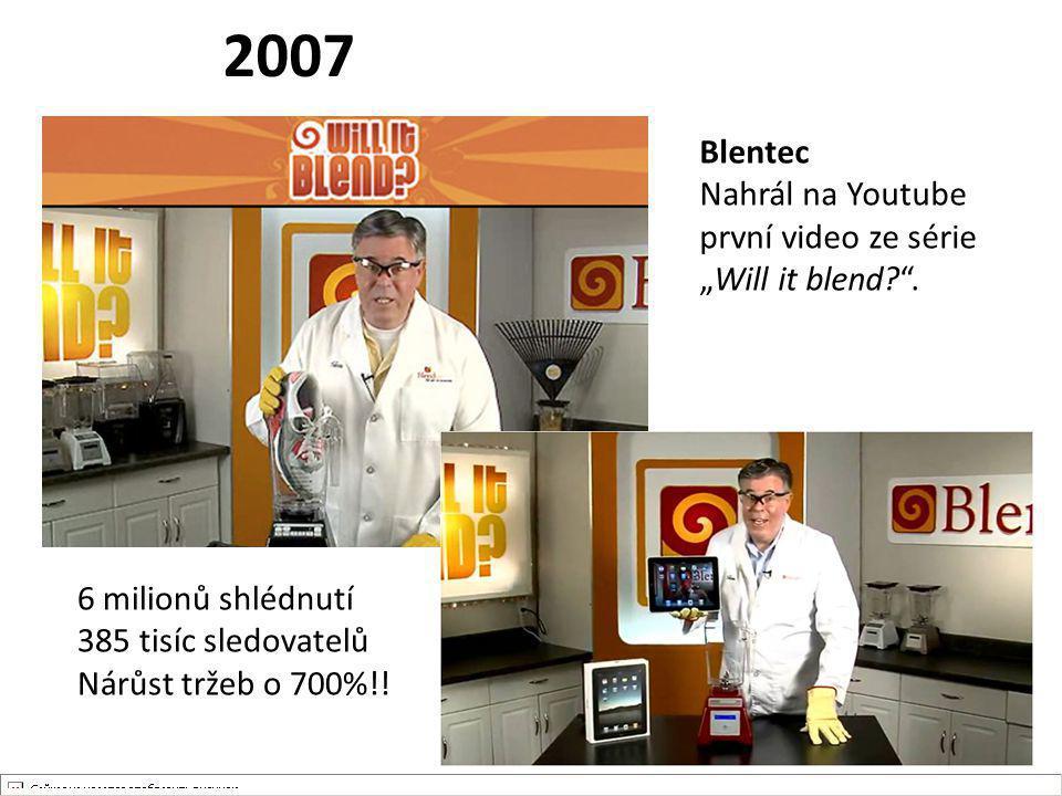 """2007 Blentec Nahrál na Youtube první video ze série """"Will it blend?"""". 6 milionů shlédnutí 385 tisíc sledovatelů Nárůst tržeb o 700%!!"""