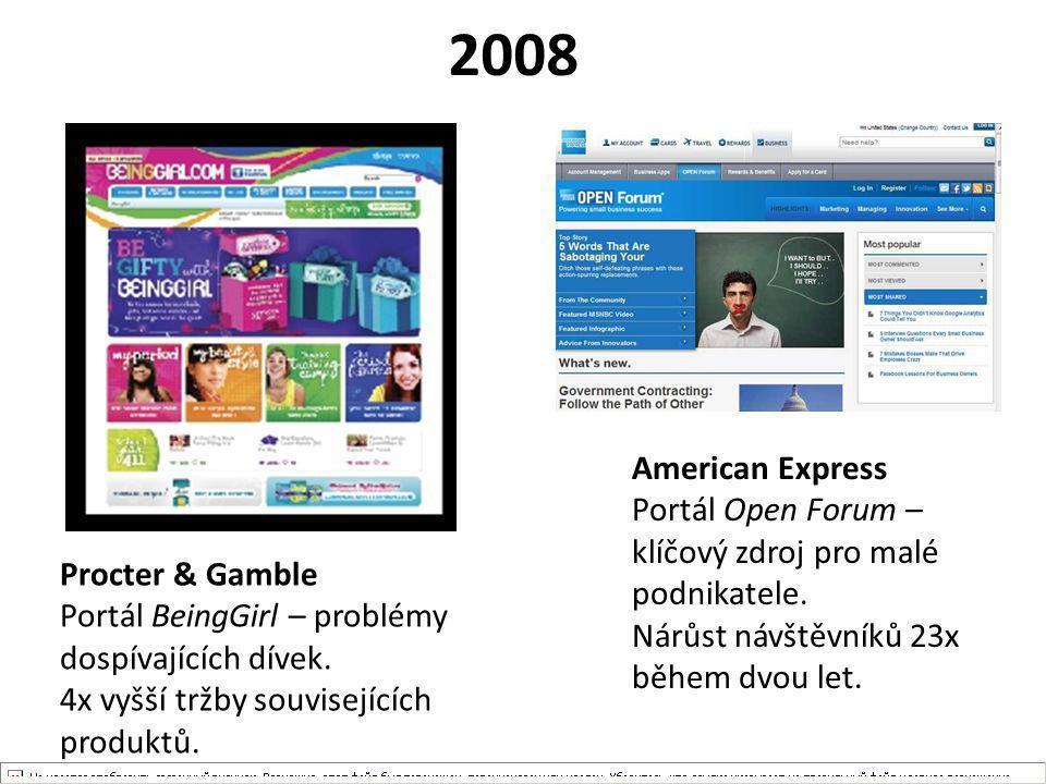 2008 Procter & Gamble Portál BeingGirl – problémy dospívajících dívek. 4x vyšší tržby souvisejících produktů. American Express Portál Open Forum – klí